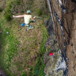 Barbara Zangerl falling off Achemine, Scotland's first E9 established by Dave MacLeod in 2001 at Dumbarton Rock close to Glasgow in Scotland