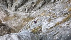 Federica Maslowsky climbing the Cassin route up Torrione Palma, Grignetta