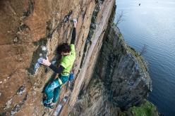 Jacopo Larcher climbing Rhapsody (E11 7a) at Dumbarton Rock in Scotland