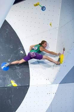 Katharina Saurwein during the fourth stage of the Bouldering World Cup 2016 at Navi Mumbai in Indiaa