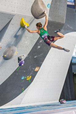 Karo Sinnhuber during the fourth stage of the Bouldering World Cup 2016 at Navi Mumbai in Indiaa