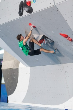 Alfons Dornauer during the fourth stage of the Bouldering World Cup 2016 at Navi Mumbai in Indiaa