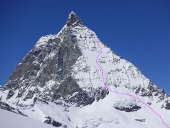 The line of descent taken by Giulia Monego, Liv Sansoz, Lorraine Huber and Melissa Presslaber down the East Face of the Matterhorn