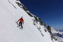 Skiing down the East Face of the Matterhorn