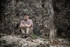 Italian mountaineer Toni Marchiorello, born in 1929 in Bassano del Grappa, photographed in Valle di Santa Felicita