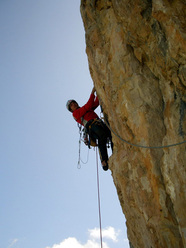 Massimo Da Pozzo during the first ascent of Zoe, Lastoni di Formin, Italy