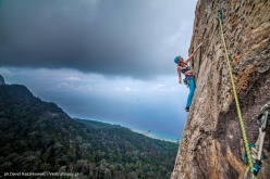 Eliza Kubarska climbing pitch 6 of 'Fever Dreams', Mumbar cliff,  Dragon Horns massif, Tioman island, Malaysia