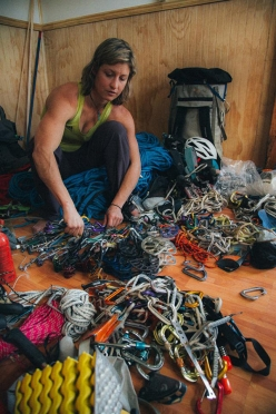 Mayan Smith-Gobat gearing up for Riders on the Storm, Torres del Paine, Patagonia