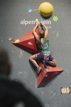 During the qualifiers of the 5th stage of the Bouldering World Cup 2016 in Innsbruck