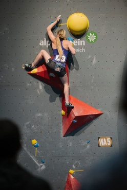Shauna Coxsey during the qualifiers of the 5th stage of the Bouldering World Cup 2016 in Innsbruck