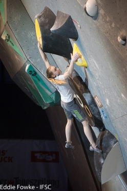 Janja Garnbret during the fifth stage of the Bouldering World Cup 2016 at Innsbruck