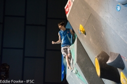 Jongwon Chon during the fifth stage of the Bouldering World Cup 2016 at Innsbruck