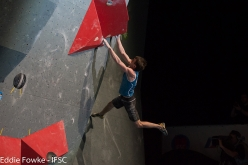 Dmitrii Sharafutdinov during the fifth stage of the Bouldering World Cup 2016 at Innsbruck