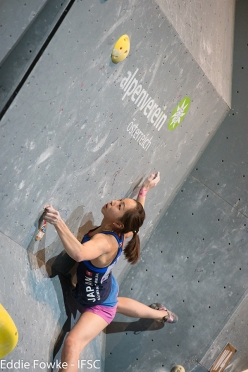 Akiyo Noguchi during the fifth stage of the Bouldering World Cup 2016 at Innsbruck