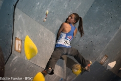 Megan Mascarenas during the fifth stage of the Bouldering World Cup 2016 at Innsbruck