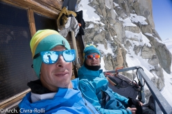 Major Route Mont Blanc: 5 May, midday at the Fourche bivouac at 3682m. We're smiling. For the moment at least...