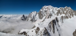Major Route Mont Blanc: the line of descent down the East Face, skied by Luca Rolli and Francesco Civra Dano on 6 May 2016.