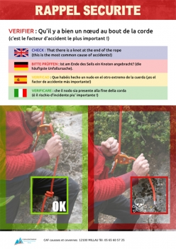 Sport climbing: tie a knot in the end of the rope!