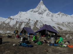 Base Camp Bhagirathi III, with Shivling in the background