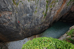 The impressive Huntsman's Leap, Pembroke, Wales.