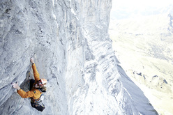 Robert Jasper during the first free ascent of Japanese Diretissima, Eiger North Face.