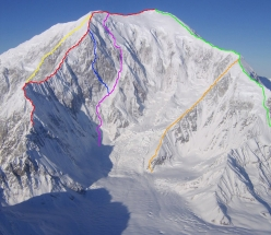 The SE Face of Sultana, showing all established routes.  GREEN: Southeast Ridge (bottom not shown), 1963, 10,400 ft. RED: French Ridge, 1976, 10,800 ft. YELLOW: Infinite Spur (bottom not shown), 1977, 9,000 ft. PINK: False Dawn, 1990, 10,400 ft. ORANGE: Viper Ridge, 1991, 6,000 ft. (climbed only to junction with SE Ridge) BLUE: Dracula, 2010, 10,400 ft.
