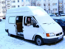 Djamila Proft in their van after returning from South America
