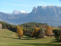 On the Ritten plateau: the view onto Schlern and Plattkofel in the Dolomites