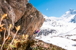 Martin Keller climbing 'Highlander' 8C at Sustenpass, Switzerland
