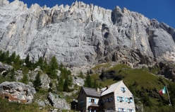 Rifugio Onorio Falier at the foot of the south face of Marmolada