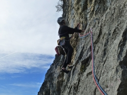 Climbing the route Frog, Piramide Lakshmi, Coste dell'Anglone, Valle del Sarca