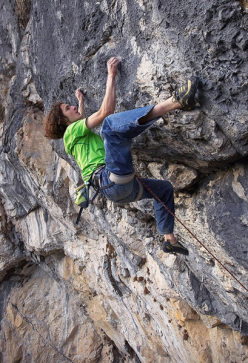 November 2008. Adam Ondra during the second ascent of Open Air, 9a+, Schleierwasserfall, Austria.
