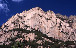 The impressive granite peaks in the Bavella massif, Corsica.