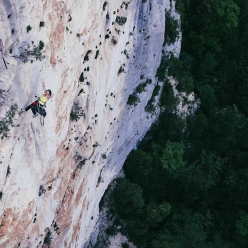 Barbara Zangerl on Golden Shower (150m, 8b+), lthe route freed by Stefan Glowacz in 2012 in the Verdon Gorge, France
