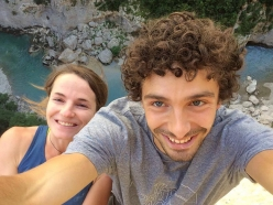 Barbara Zangerl and Jacopo Larcher on Golden Shower (150m, 8b+), lthe route freed by Stefan Glowacz in 2012 in the Verdon Gorge, France