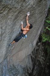 Yuji Hirayama climbing Cobra Crack, Squamish, Canada