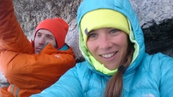 James Pearson and Caroline Ciavaldini during Ciavaldini's successful redpoint ascent of the Voie Petit on Grand Capucin in July 2016
