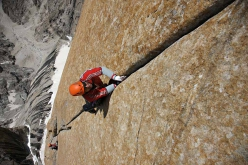 Alexander Huber climbing the perfect hand-jam-crack of the fifth pitch (5.10c) of Eternal Flame, Nameless Tower, Trango, Karakorum, Pakistan