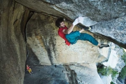 Jacopo Larcher climbing Separate Reality, the legendary roof crack in Yosemite first climbed in 1978 by Ron Kauk