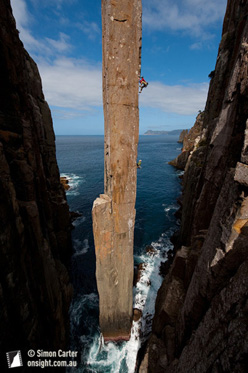 Doug McConnell and Dean Rollins freeing the original Ewbank route on the Totem Pole, the extraordinary 65m sea stack at Cape Hauy, Tasmania, Australia.