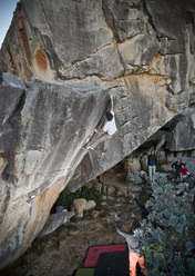 Kilian Fischhuber climbing Airstar FB8b, Rocklands, South Africa