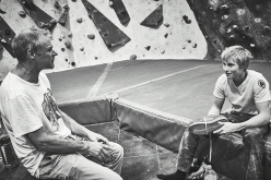 Alexander Megos and Jerry Moffatt discuss climbing in The Foundry in Sheffield, UK