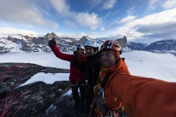 Stefan Glowacz, Klaus Fengler and Robert Jasper on the summit of Mt. Turret, Sam Ford Fjord, Baffin Island