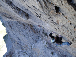 Leopoldo Faria working the crux pitch.