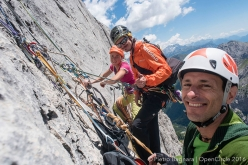 Federica Mingolla, Klaus dell'Orto and Pietro Bagnara on Via Attraverso il Pesce (Fish route) on the South Face of Marmolada, Dolomites. Her climbing partner was Roberto Conti.