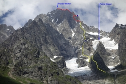 The line of Diamond Ridge, SSE Face of Grandes Jorasses (1600m, 5c, AO,  Simon Richardson, Michael Rinn 28 - 30 July 2016). The yellow line shows Diamond Ridge (1200m elevation and new climbing). The red line shows the continuation along the upper part of Tronchey Ridge (400m elevation) Bivouacs shown in blue. The right skyline is Tronchey Ridge. Left foreground is Pra Sec Ridge.
