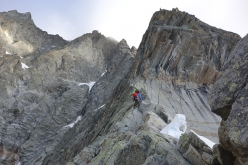 Diamond Ridge Grandes Jorasses: Michael approaching the crux tower on Day 2, 29 July 2016
