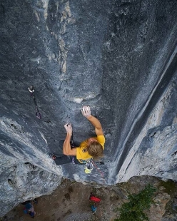 Alexander Megos making the first ascent of Fightclub (9b) the hardest sport climb in Canada