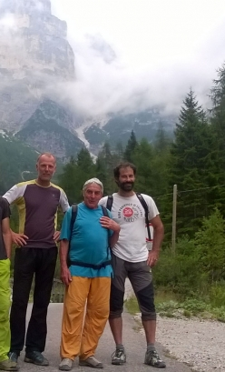 With Marcello Bonafede, after the ascent of Torre di Babele via the Goedeke-Rien route, Civetta group, Dolomites