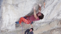 Chris Sharma attempting his Le Blond Project at Oliana
